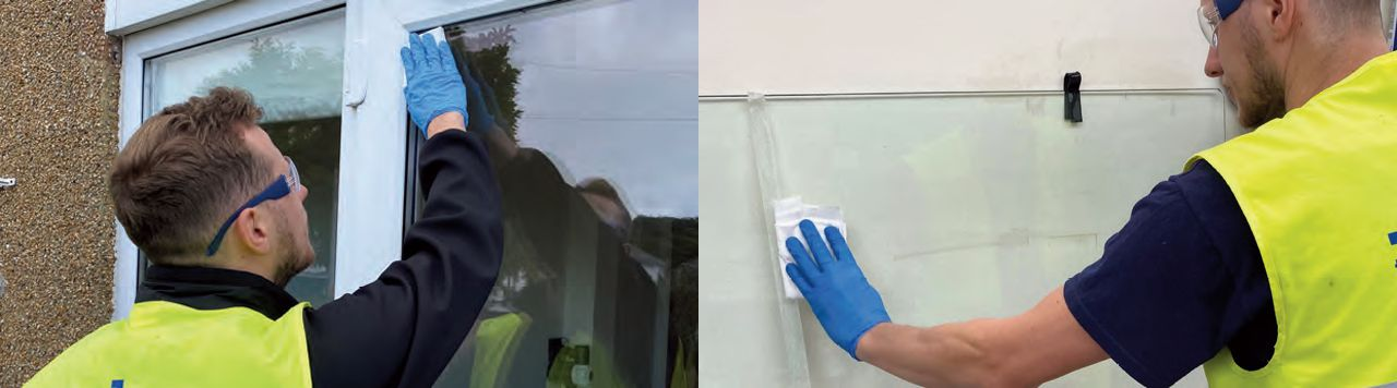 Clearshield Eco-Glass being applied to glass